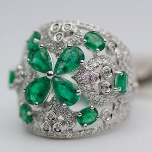 EFFY 14k White Gold Emerald And Diamond Band Ring